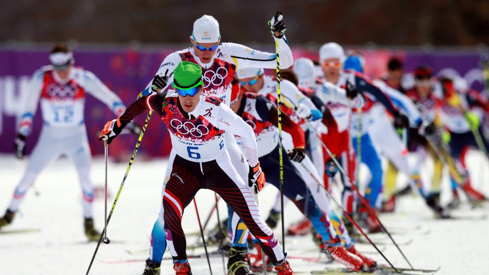 TESTET POSITIVT FOR EPO: Her leder østerrikske Johnannes Dürr feltet i skiathlon. Han ble til slutt nummer åtte, men har nå testet positivt for doping.