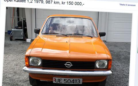 Med en årlig kjørelengde på bare 2,8 mil er det ikke noe rart at Kadetten ser fin ut, selv etter 35 år. Faksimile fra finn.no