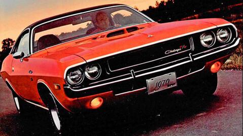 Dodge Challenger R/T på et originalt reklamebilde fra 1970. Tøff?