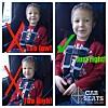 SLIK SKAL DET GJØRES: Holly har lagt ut dette bildet på Facebook-siden for å vise hvor brystspennen skal festes på et barn i bilen. Foto: Facebook