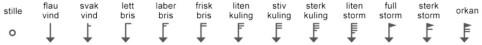 VIND: En kort strek på halen til vindpilen er 5 knop, en lang 10, og en trekant 50. Du summerer strekene for å finne vindhastigheten. Pilene peker i den retningen det blåser, fra nord i disse eksemplene.