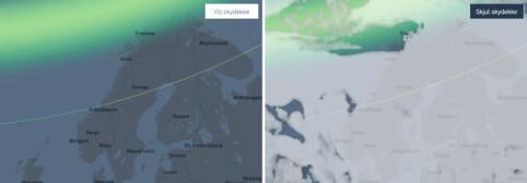 NORDLYS: Du får varsel om hvor det er nordlys de neste tre timene. Den grønne kurven viser hvor langt sør det kan sees dersom du kikker mot nord. Slå på skydekket for å sjekke hvor det er klarvær og best utsikt til forestillingen.
