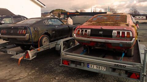 To stykk Toyota Celica Liftback er reddet ut av skogen, og på vei til Stjørdal. Foto: Privat