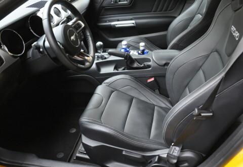 Dype sportsseter er på plass. Merk også manuell girkasse og manuell håndbrekk – ikke så vanlig i biler med V8-motor ...