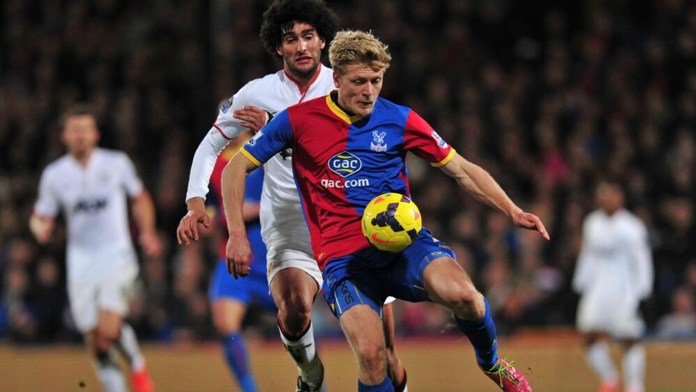 HAR IMPONERT: Crystal Palace har imponert i år, men Jonathan Parrs framtid i Crystal Palace er likevel uviss. Her er Parr i aksjon mot Manchester Uniteds Marouane Fellaini. Foto: SCANPIX