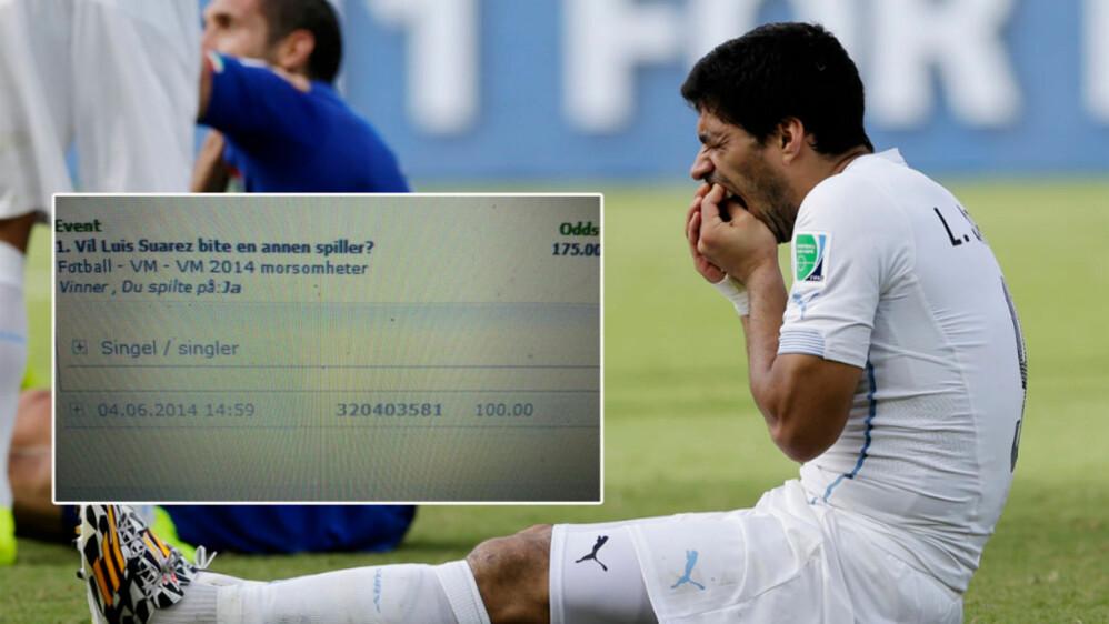 LUKRATIVT FOR NOEN: En heldig sørlending hadde satt penger på at Luis Suárez skulle bite fra seg i VM.