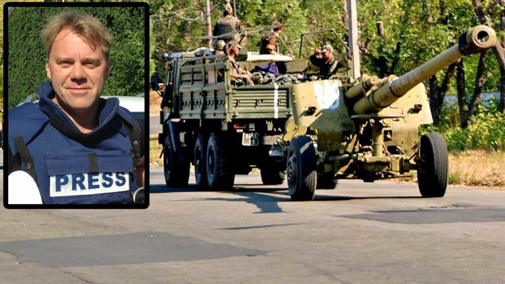 FORFLYTNING: Ukrainske styrker transporterer artilleri mellom Mariupol og Donetsk lørdag. TV 2s Øystein Bogen innfelt. Foto: Aage Aune/TV 2