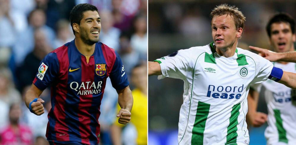 GAMLE LAGKAMERATER: Luis Suárez og Erik Nevland spilte sammen i nederlandsk fotball. Foto: Scanpix/Photoshop (montasje)