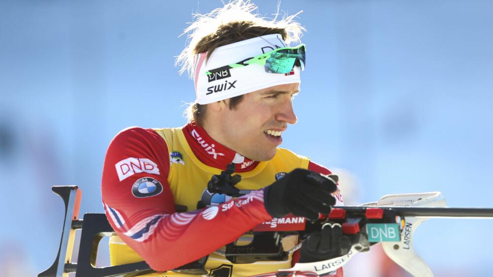 SYK: Emil Hegle Svendsen under verdenscupen i Pokljuka, Slovenia. Foto: Primoz Lovric / NTB scanpix