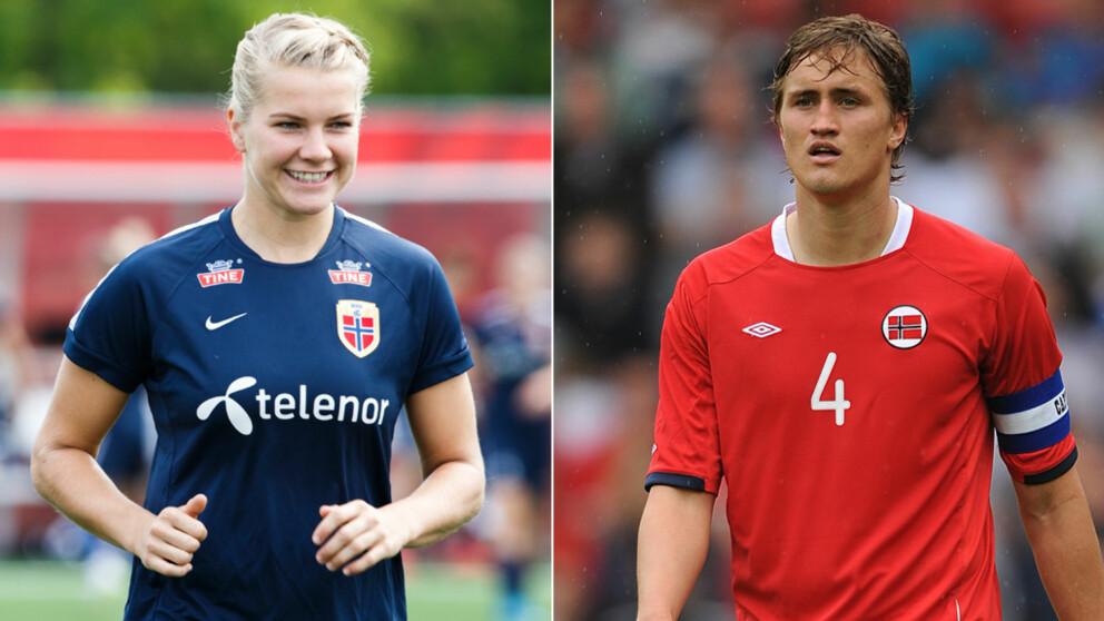FOTBALLPAR: Ada Hegerberg og Thomas Rogne er begge proffe fotballspillere.Foto: Berit Roald / NTB scanpix