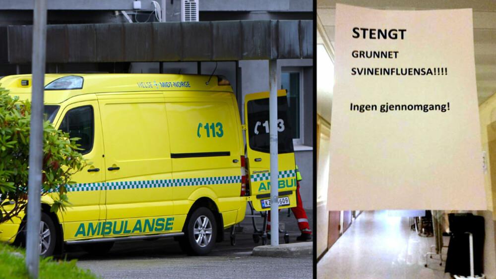 SVINEINFLUENSA: Seks pasienter ved Ålesund sykehus ble onsdag ettermiddag satt i isolasjon grunnet svineinfluensa. FOTO: TV 2