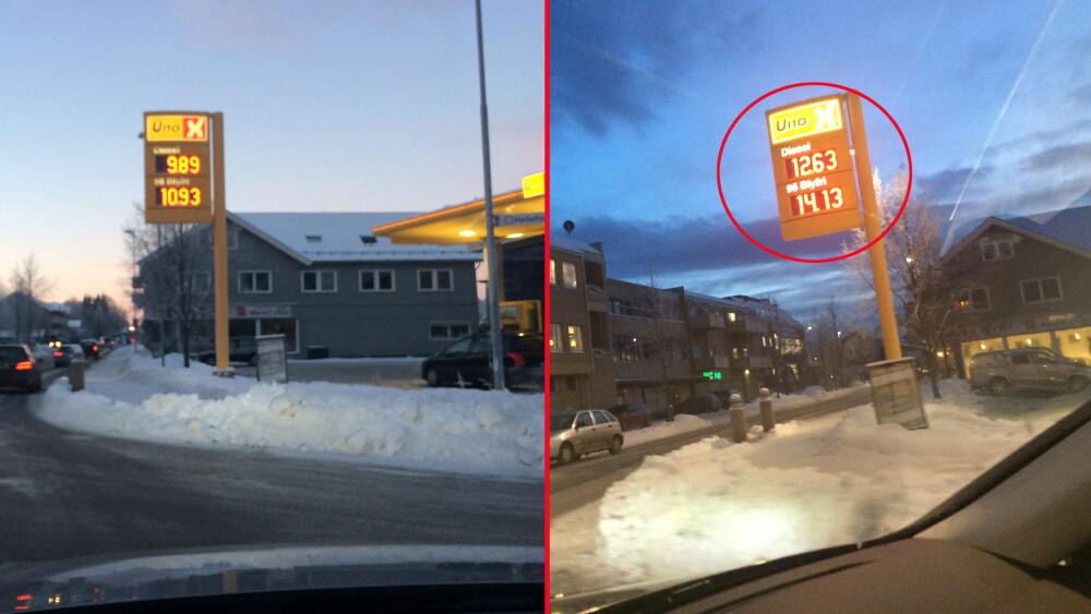 Disse to bildene er tatt på samme dag. Men prisforskjellen er betydelig. Det er mange som ikke er helt klart over hvor viktig det er å time påfyllingen av drivstoff for å best mulig pris.
