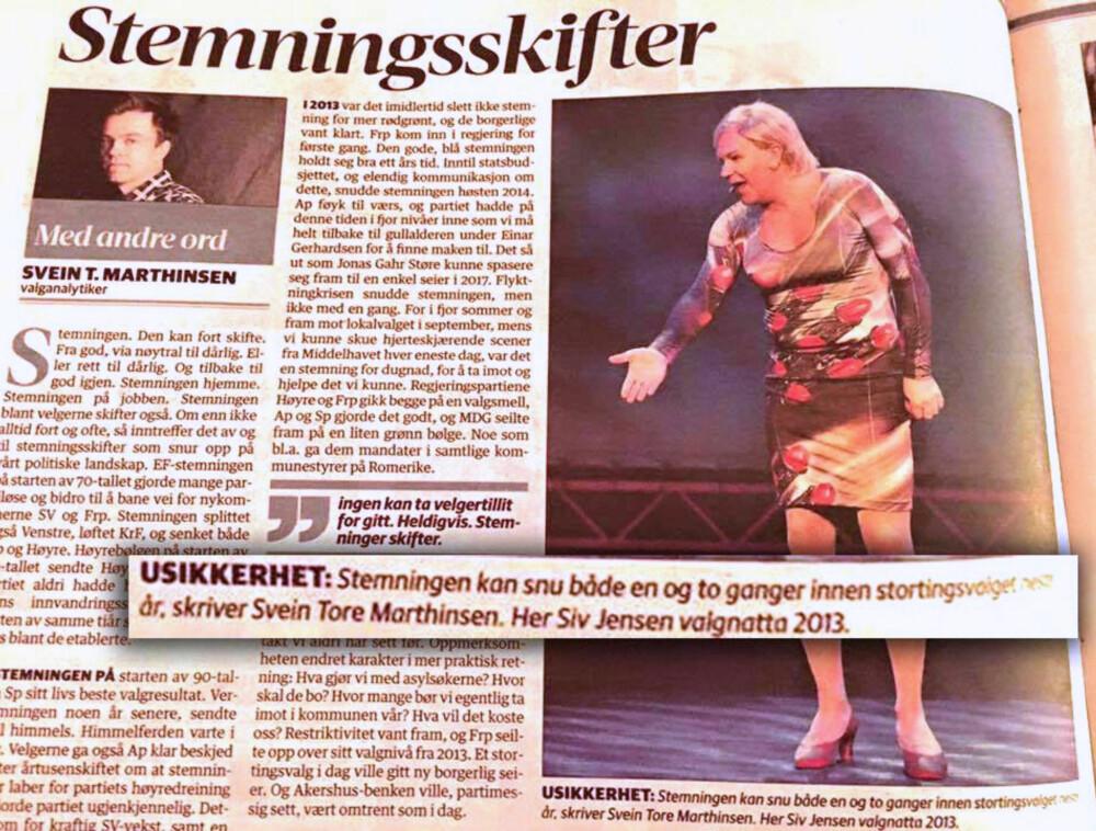 SIV JENSEN? Lokalavisa Romerikes Blad har bommet litt da de skulle velge bilde til en valgkommentar om Siv Jensen. Foto: Faksimile