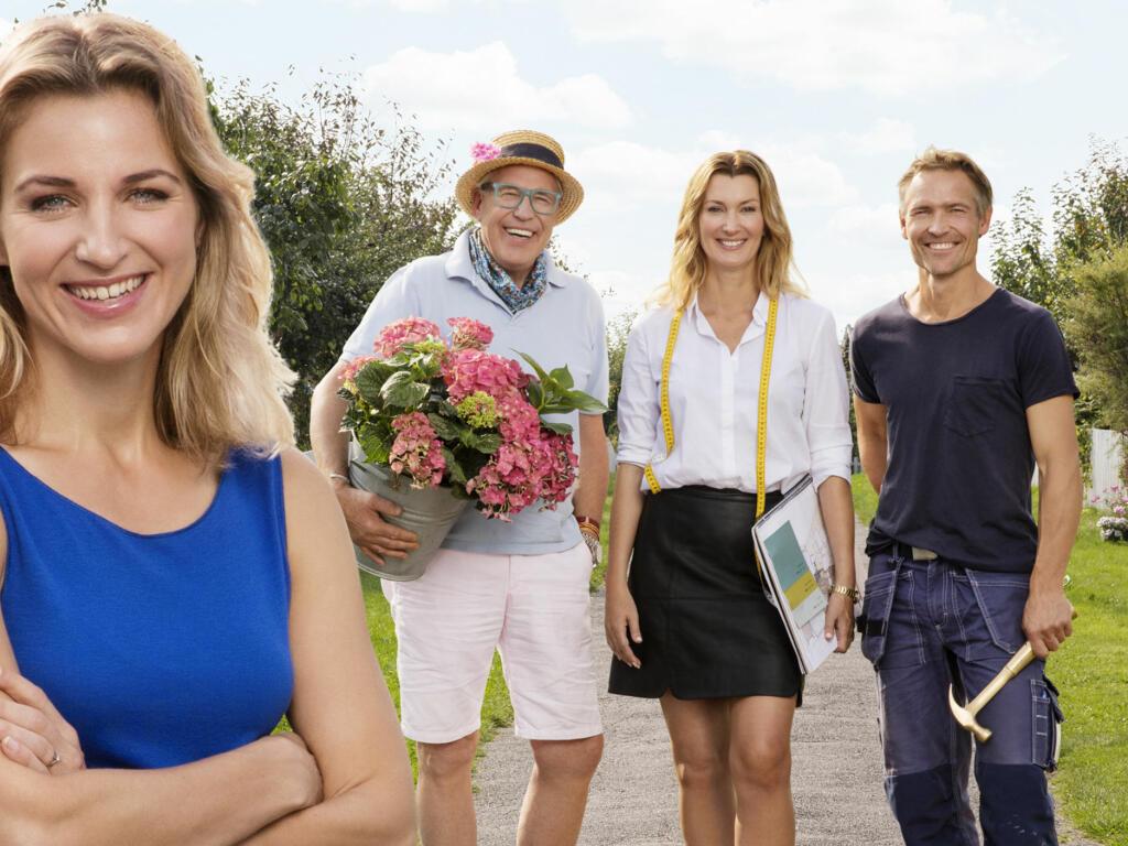 EKSPERTENE: Programleder Guri Solberg sammen med Blomster-Finn, interiørdesigner Aina Steen og snekker Lars Fossum. Foto: TV 2.