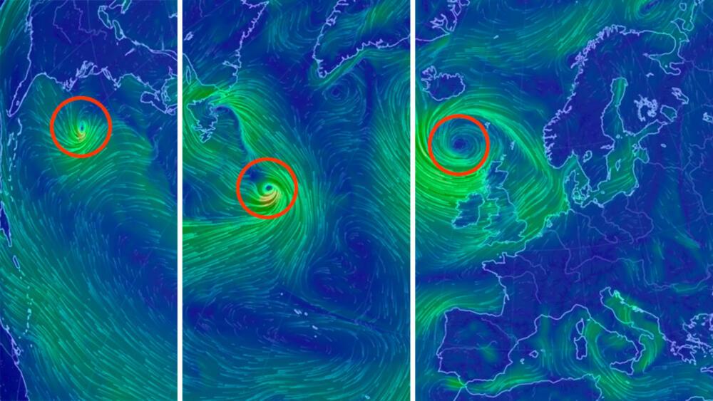 GERT: Slik er prognosen for syklonen onsdag, fredag og mandag. Kart: Earth Nullschool