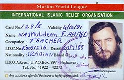 Et ID-kort utstedt til mulla Krekar fra organisasjonen IIRO, som knyttes til al-Qaida.