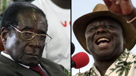 President Robert Mugabe og opposisjonsleder Morgan Tsvangirai.  (Foto: AFP/SCANPIX)