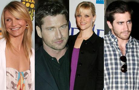 MØTES TIL MIDDAG: Cameron Diaz, Gerald Butler, Reese Witherspoon og Jake Gyllenhaal. (Foto: Stella)