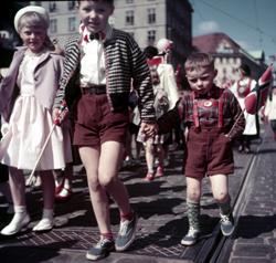 Jo visst har det vært sol på 17. mai i Bergen før. I 1954 var det til og med kortbuksevær! (Foto: Aktuell / Scanpix)