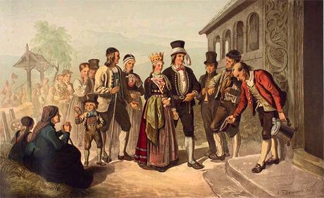Et brudefølge. (Foto: Adolph Tidemand (1814 - 1876))