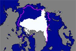 Det hvit området viser isutbredelsen i september 2007. Den rosa linjen er normal utbredelse (Foto: Norsk Romsenter)