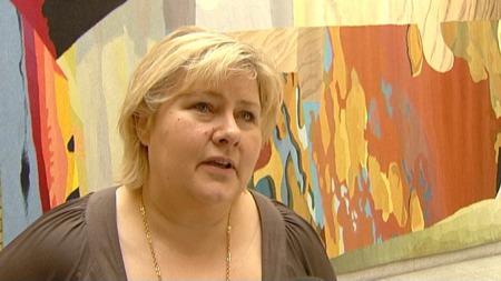 Leder i Høyre, Erna Solberg (Foto: TV 2)