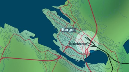 Kart Nygårdstangen i Bergen. (Foto: TV 2)