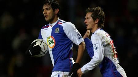 KAN FORSVINNE: Santa Cruz kan forlate Blackburn og Morten Gamst Pedersen til sommeren.  (Foto: PAUL ELLIS/AFP)