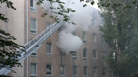 Brann i Mogens Thorsens gate i Oslo.   (Foto: Svein Gustav Wilhelmsen)