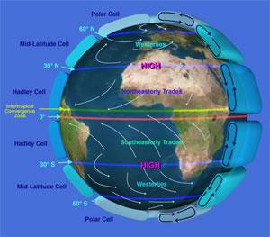 Slik sirkulerer luften omkring kloden. (Foto: Wikipedia)