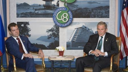 UENIGE OM RAKETTSKJOLD: Russlands president Dmitri Medvedev   og USAs president George W. Bush. (Foto: Reuters, ©MJC/DL)