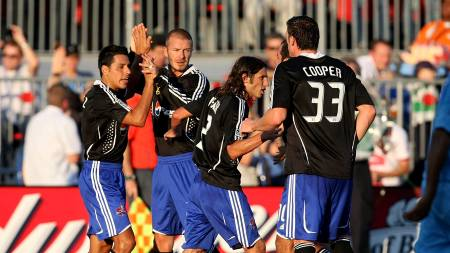 ALL-STAR MED BECKHAM: Christian Gomez (Colorado Rapids), David   Beckham (LA Galaxy), Frankie Hejduk (Columbus Crew), Kenny Cooper (FC   Dallas). (Foto: JONATHAN DANIEL/AFP)