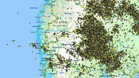 Oversikt over lynnedslag over Sør-Norge. (Foto: SINTEF)