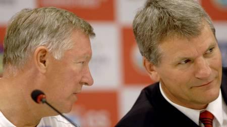 BEST I MANCHESTER: - Vi er best i byen, sier United-direktør David Gill. Her sammen med manager Sir Alex Ferguson.  (Foto: KIM JAE-HWAN/AFP)