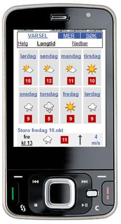 Sånn ser langtidsværet for Storo i Oslo ut på mobilen. Du  klikker på en dag for å få time-for-time varsel for dagen.
