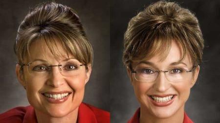 FORBILDE: Pia går hardt til verks for å likne sitt   forbilde, Sarah Palin. Hvem er hvem? (Foto: CF. Wesenberg)