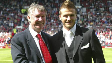 MØTES IGJEN: David Beckham og Sir Alex Ferguson (Foto: MARTIN RICKETT/EPA)