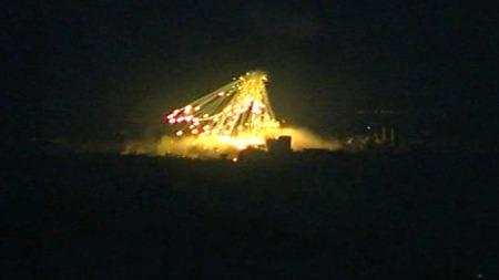 Bombene haglet over Gaza lørdag.  (Foto: APTN)