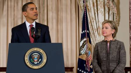 President Barack Obama og utenriksminister Hillary Clinton.  (Foto: SAUL LOEB/AFP)