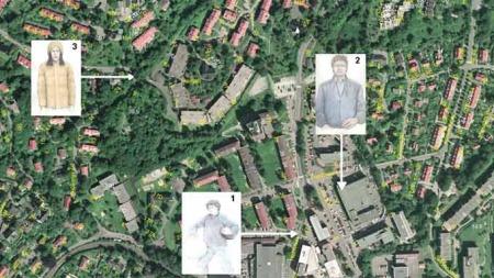 Oversikt over hvor de tre etterlyste i forbindelse med Skøyen-drapet er sett. (Foto: Politiet)