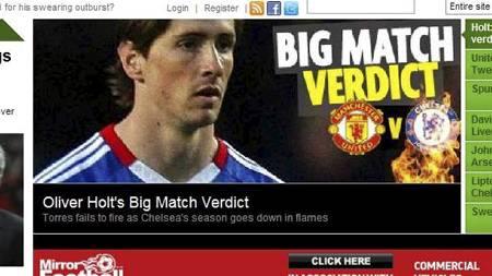 SLAKTES: Fernando Torres blir slaktet i britiske aviser. (Foto: www.mirror.co.uk/)
