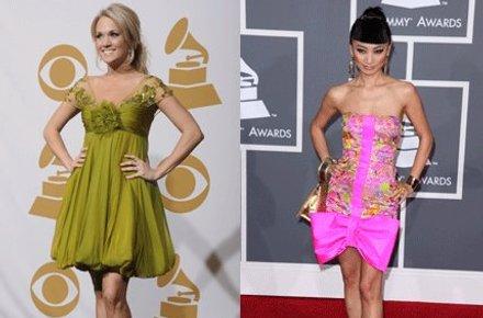 POSERER: Carrie Underwood og Bai Ling med sine fargerike kjoler på den røde løperen.