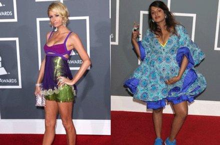 PÅ PLASS: Paris Hilton dukket selvsagt opp på den røde løperen. Høygravide M.I.A dukket opp i denne blåe kreasjonen.