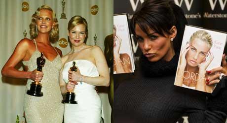 TANNING OVERLOAD 2: Skuespillerinne Charlize Theron ser ut som hun overdrev litt i forhold til Renée Zellweger, og Jordan har grillet mer enn hun vil innrømme.