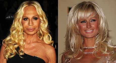 TANNING OVERLOAD 7: Designer Donatella Versace og Paris Hilton.