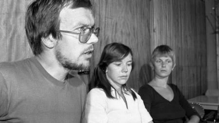 Oslo 6. august 1979: Rød Valgallianse holder pressekonferanse i forbindelse med valget høsten 1979. Fra venstre: Partiformann Pål Steigan, Ellen Pedersen og Hilde Haugsgjerd.  (Foto: PAUL OWESEN / NTB/SCANPIX)