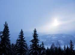 Solen klarte bare såvidt å titte gjennom skyene i Lommedalen tirsdag. (Foto: Sara Johannessen / SCANPIX)