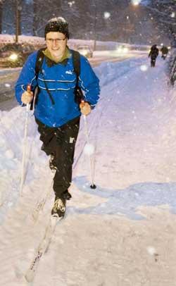 Ove Dahle gikk på ski fra Torshov til jobben på Frogner. (Foto: Håkon Mosvold Larsen / SCANPIX)