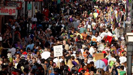Mardi Gras er avsluningsfesten for karnevalet. I New Orleans er dette en stor folkefest.  (Foto: Chris Graythen/AFP)
