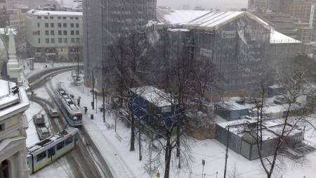 Utsikten fra taket på TV 2-huset i Oslo sentrum fredag formiddag.  (Foto: LarsBarth-Heyerdahl/TV 2)